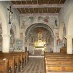 église Ste Croix - int. nef centrale du 12e siècle et choeur