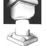 église St Laurent - pilier, chapiteau cubique et base à griffes